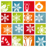 Iconos estilizados del día de fiesta de invierno fotos de archivo