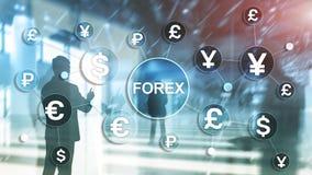 Iconos euro del d?lar de los diagramas de las finanzas del negocio de intercambio de moneda de comercio de las divisas en fondo b ilustración del vector
