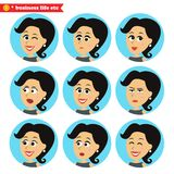 Iconos faciales de las emociones fijados stock de ilustración