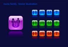 Iconos familia, hombre, mujer y niño, botón Foto de archivo libre de regalías