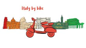 Iconos famosos del viaje de Italia con la vespa ilustración del vector