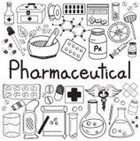 Iconos farmacéuticos y del farmacéutico del garabato de la escritura stock de ilustración