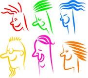 Iconos felices de la cara Foto de archivo libre de regalías