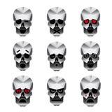 Iconos felices de la emoción del cráneo fijados Foto de archivo libre de regalías