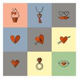Iconos felices del día de tarjetas del día de San Valentín Foto de archivo libre de regalías