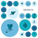 Iconos felices del día de tarjetas del día de San Valentín Imagenes de archivo