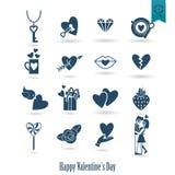 Iconos felices del día de tarjetas del día de San Valentín Imagen de archivo libre de regalías