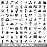 100 iconos felices fijados, estilo simple de la niñez Foto de archivo libre de regalías