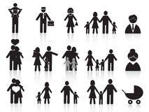 Iconos felices negros de la familia fijados stock de ilustración
