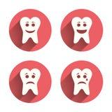 Iconos felices, tristes y gritadores del diente de la cara Fotografía de archivo libre de regalías