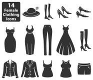 Iconos femeninos de la ropa ilustración del vector