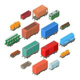 Iconos ferroviarios fijados, estilo isométrico del carro Imágenes de archivo libres de regalías