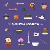 Iconos fijados, cliparts del vector de la Corea del Sur de la visita Imágenes de archivo libres de regalías