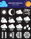 Iconos fijados, colección sólida moderna del símbolo, paquete blanco de la previsión metereológica del pictograma aislado en negr Fotografía de archivo libre de regalías