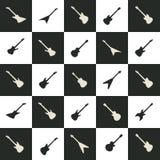 Iconos fijados, color blanco y negro de la guitarra Foto de archivo