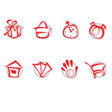 Iconos fijados - compras stock de ilustración