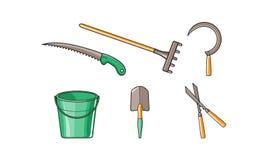Iconos fijados, cubo, rastrillo, sierra, hoz, esquileos de jardín, ejemplo de las herramientas que cultivan un huerto del vector  libre illustration