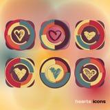 Iconos fijados de corazones coloreados bosquejo Imagen de archivo