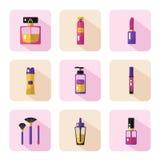 Iconos fijados de cosméticos y de belleza Foto de archivo libre de regalías