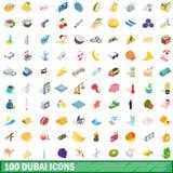 100 iconos fijados, de Dubai estilo isométrico 3d