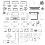 Iconos fijados de interior stock de ilustración
