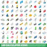 100 iconos fijados, de la calculadora estilo isométrico 3d ilustración del vector