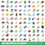 100 iconos fijados, de la metrópoli estilo isométrico 3d