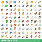 100 iconos fijados, de la moneda estilo isométrico 3d ilustración del vector