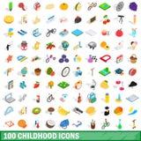 100 iconos fijados, de la niñez estilo isométrico 3d ilustración del vector