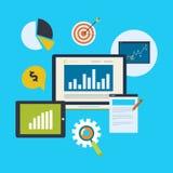 Iconos fijados de la optimización del sitio web SEO stock de ilustración