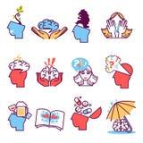 Iconos fijados de la psicoterapia, psicología Fotografía de archivo