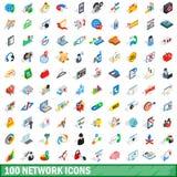 100 iconos fijados, de la red estilo isométrico 3d Fotos de archivo libres de regalías