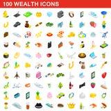 100 iconos fijados, de la riqueza estilo isométrico 3d stock de ilustración