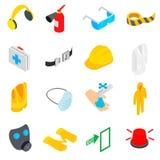 Iconos fijados, de la seguridad estilo isométrico 3d Fotos de archivo libres de regalías