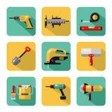 Iconos fijados de las herramientas de la construcción Imágenes de archivo libres de regalías