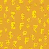 Iconos fijados de las monedas del mundo Modelo inconsútil Dólar, euro, libras, francos, rupias, yenes stock de ilustración