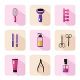 Iconos fijados de procedimiento de la pedicura Imagen de archivo