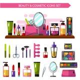 Iconos fijados de productos de belleza Fotografía de archivo