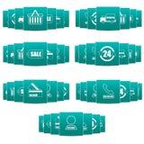 Iconos fijados de siete pedazos para la tienda en línea Imagen de archivo libre de regalías