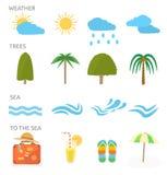 Iconos fijados de vacaciones que viajan y de planificaciones Imágenes de archivo libres de regalías
