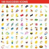 100 iconos fijados, del éxito estilo isométrico 3d Imagenes de archivo