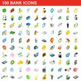 100 iconos fijados, del banco estilo isométrico 3d Imagenes de archivo