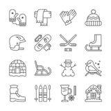 Iconos fijados del deporte de invierno, actividad al aire libre libre illustration