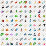 100 iconos fijados, del diálogo estilo isométrico 3d Foto de archivo