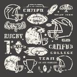 Iconos fijados del equipo del rugbi del campus stock de ilustración
