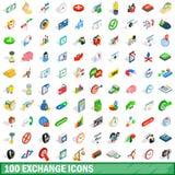 100 iconos fijados, del intercambio estilo isométrico 3d ilustración del vector