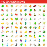 100 iconos fijados, del jardín estilo isométrico 3d ilustración del vector