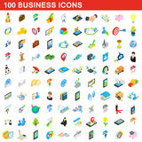 100 iconos fijados, del negocio estilo isométrico 3d Imagen de archivo libre de regalías