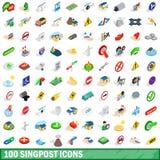 100 iconos fijados, del poste indicador estilo isométrico 3d Fotos de archivo