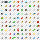 100 iconos fijados, del poste indicador estilo isométrico 3d Fotografía de archivo